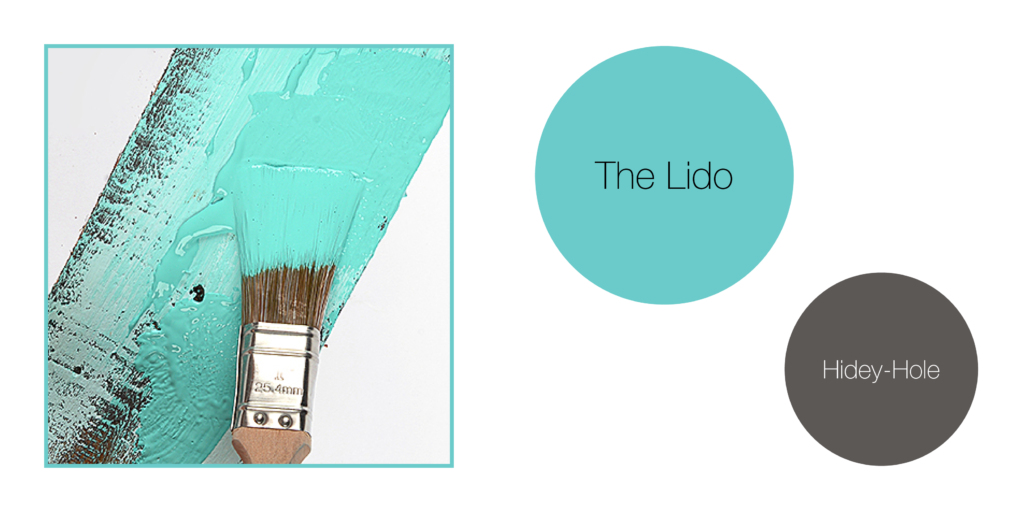 Earthborn eco paint colours in The Lido turquoise and Hidey-Hole dark grey. Upcycling with eco paint