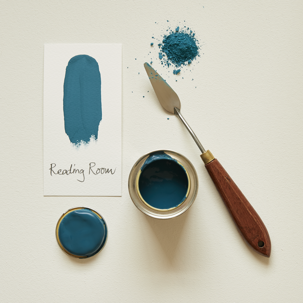 Earthborn Claypaint sample pot of Reading Room teal blue paint colour