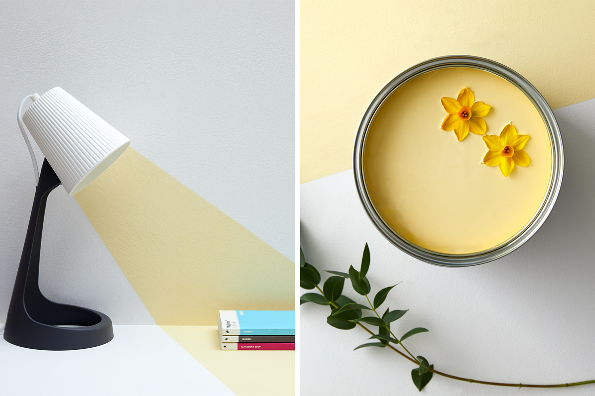 Yellow Jemima is ideally paired with whites and pale greys for a contemporary palette