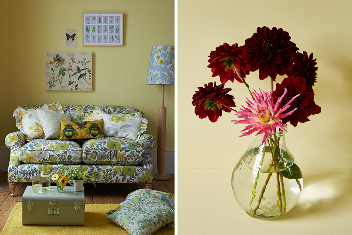 Soft yellow Jemima is perfect with floral patterns and country inspired colour schemes