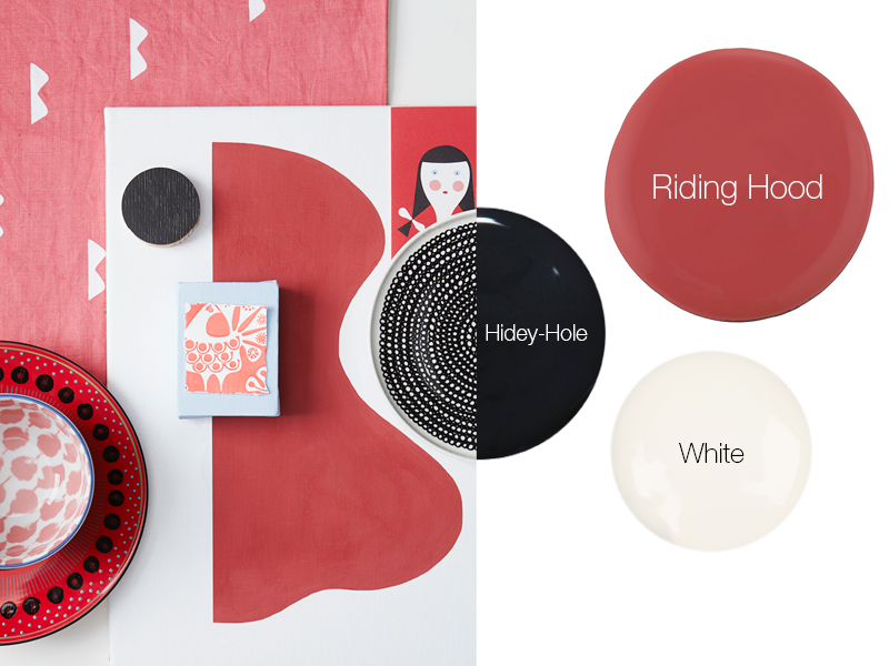 Earthborn's bold, folksy decor colour scheme includes Riding Hood red, White and Hidey-Hole black