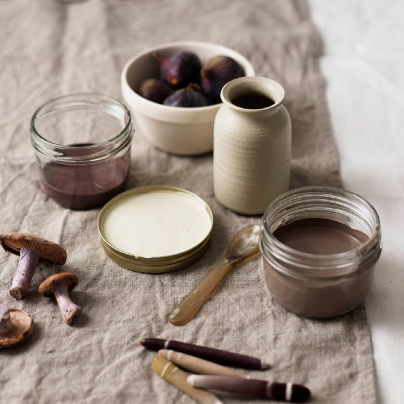 Decorate with nature inspired colours like these browns and purples using eco friendly paints