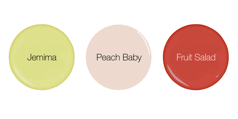 Earthborn fruity inspired eco friendly paint colours Jemima, Peach Baby and Fruit Salad