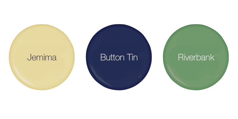 Earthborn eco friendly paint colours featuring yellow Jemima, blue Button Tin and green Riverbank