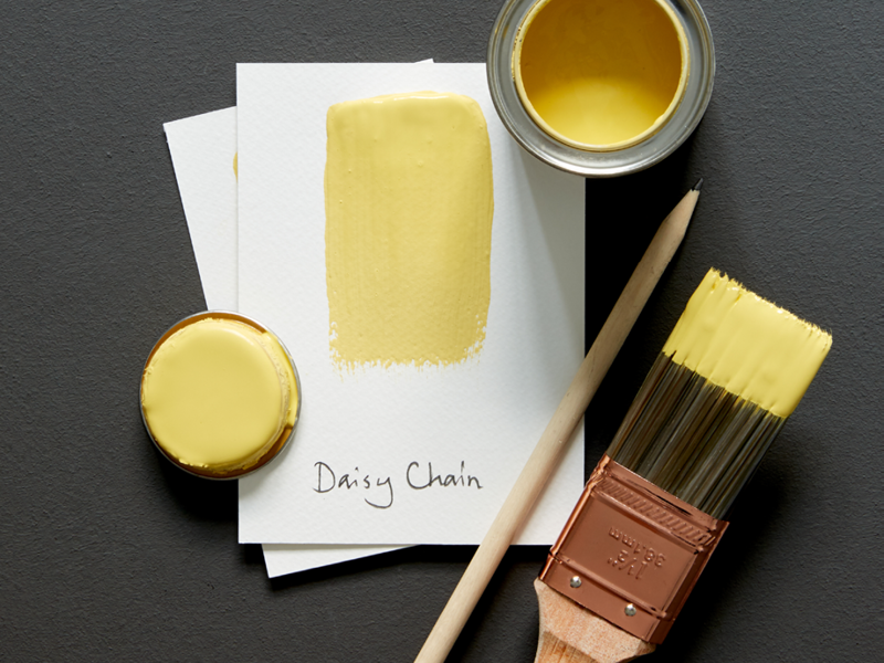Dark colour make a showstopping backdrop to bight paint colours. Try pairing Hidey-Hole by Earthborn with yellow Daisy Chain