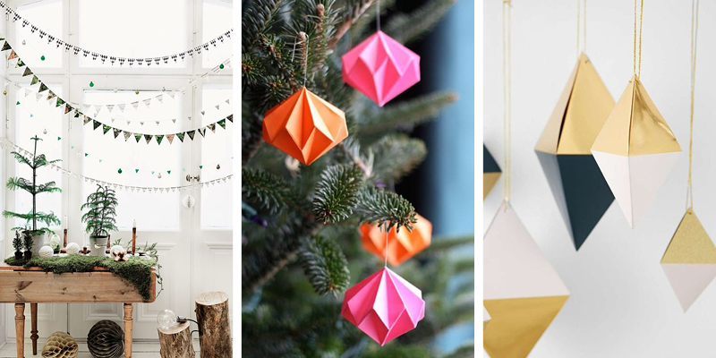 Christmas decor ideas include simple effective paper crafts like these