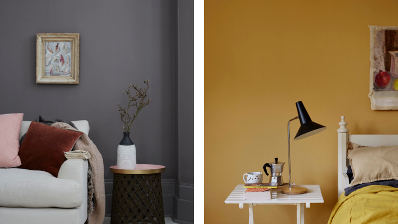 Dark, north facing rooms benefit from using warm, rich paint colours like Earthborn's Rocky Horse and Humpty Dumpty