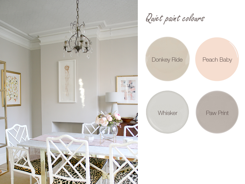 Warm neutral paint colours include Earthborn Donkey Ride, as seen in this dining room by Swoonworthy