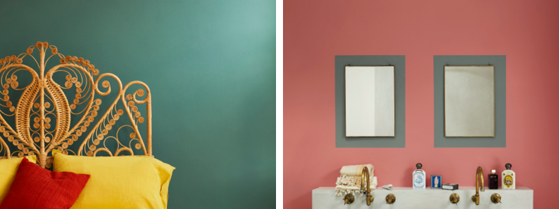 Earthborn green paint colour Hobgoblin is the perfect shade to sleep and dream with. Perfect pink 'Delilah' gives a glamorous fifties nod to bathrooms.