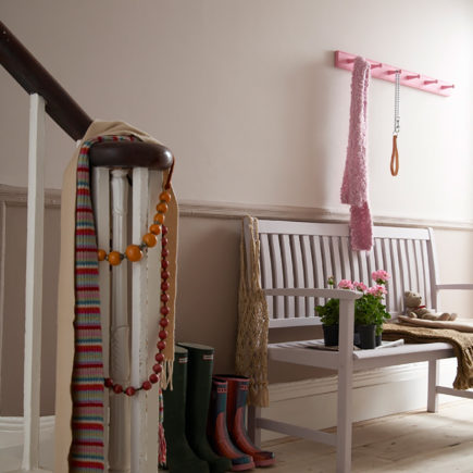 Hallway ft. lower wall in Muddy Boots and upper wall in Feather Pillow with bench in Eyebright