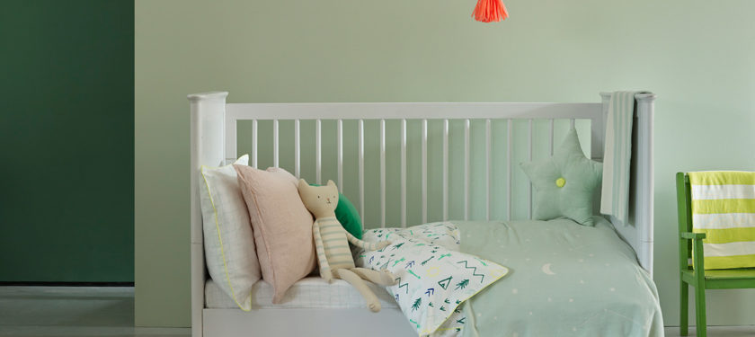 Nursery .ft wall in Sapling, Hobby Wood, cot in Bugle