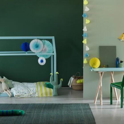 Nursery .ft wall in Milk Jug and Sapling, cot in Hobby Wood