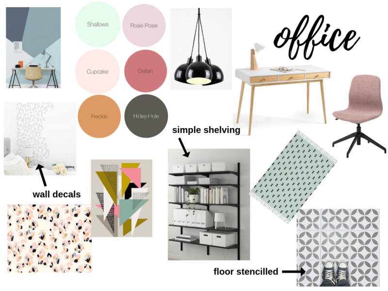 Blogger and Instagrammer Soozi Danson's office makeover moodboard using Earthborn