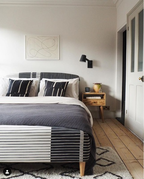 Luke Arthur Wellls contemporary bedroom update featuring Earthborn Flutterby