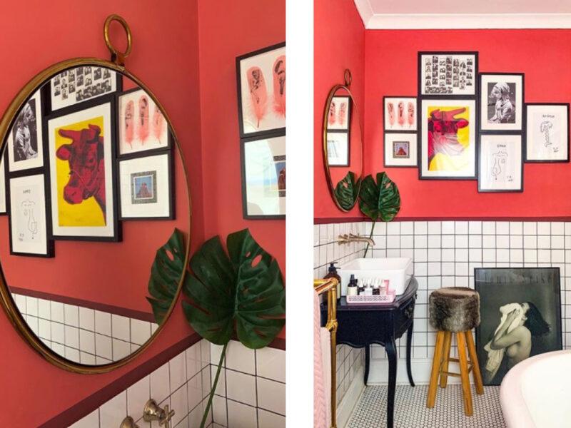 Pink bathroom painted in Delilah