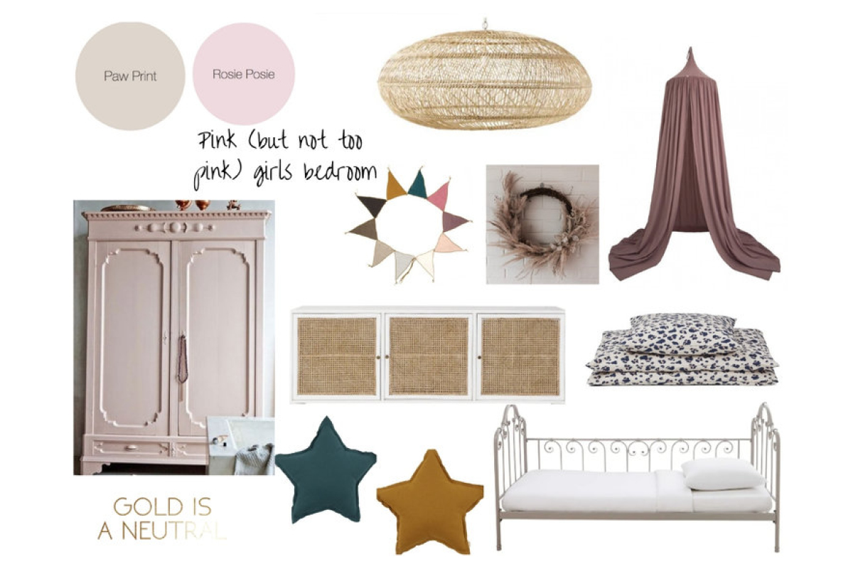 Blogger Jess used Earthborn paint colours Paw Print and Rosie Posie for a girl's pink bedroom makeover