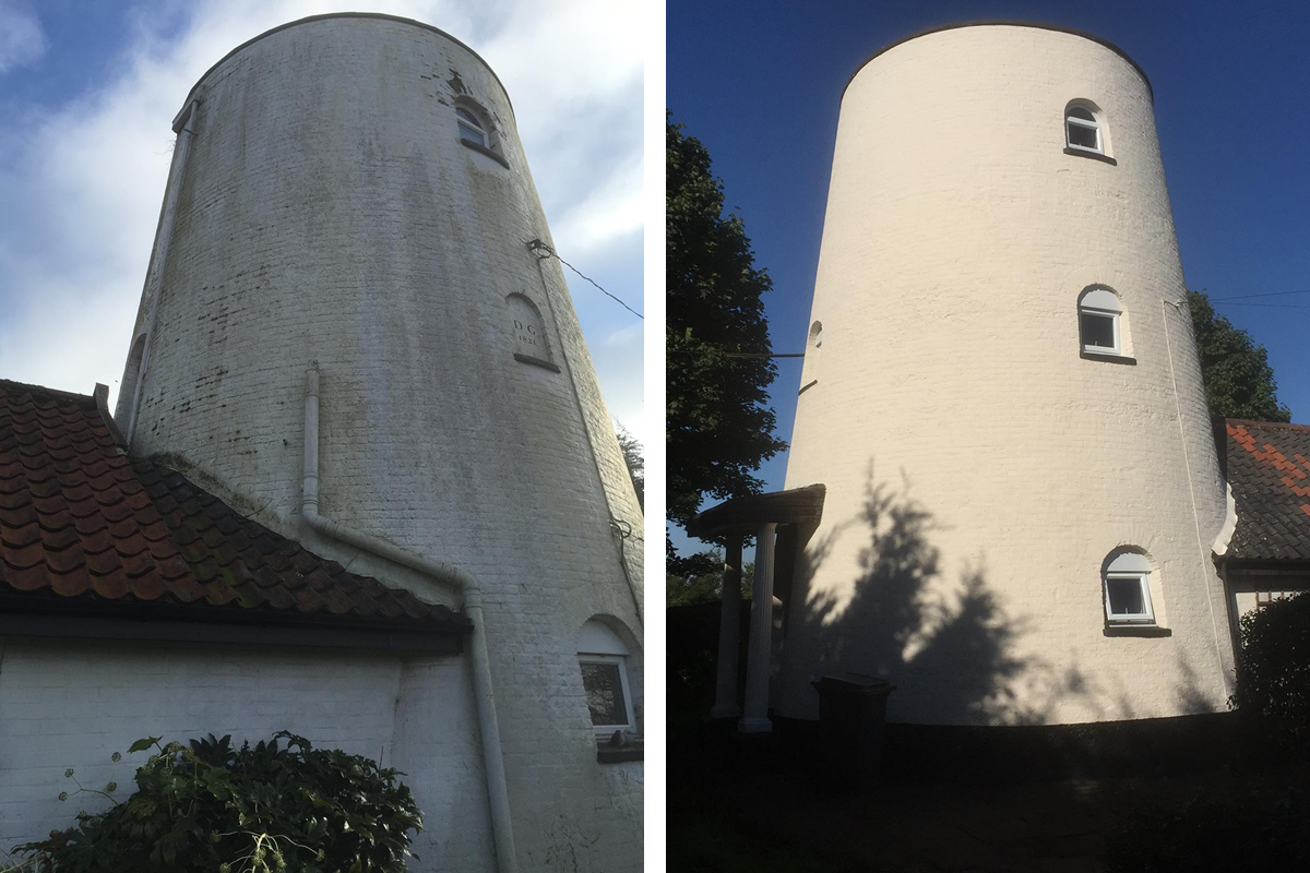 Earthborn paint case study featuring mineral based silicate masonry paint used on restored windmill