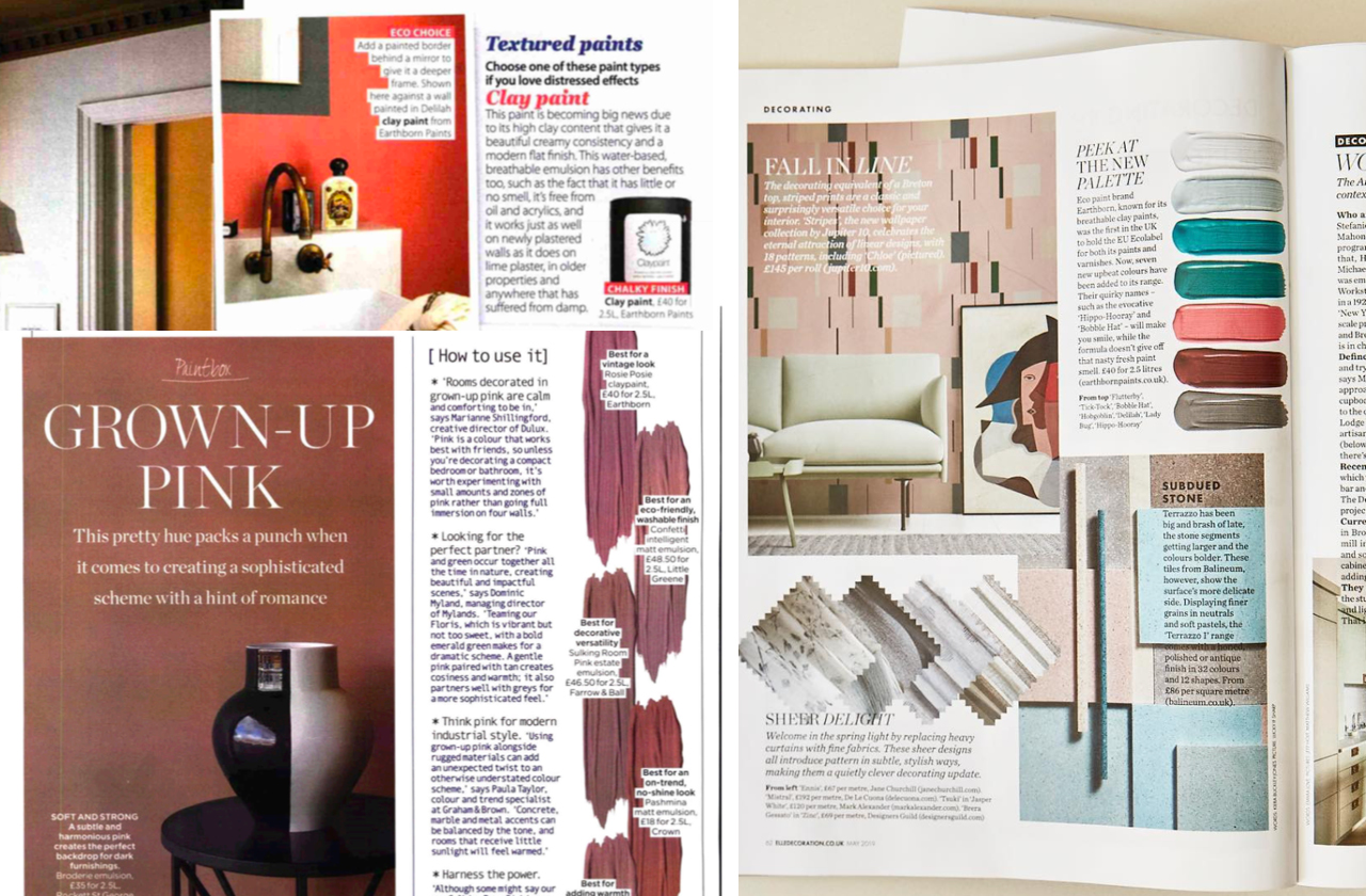 Earthborn in the Press 2019 - as featured in The Sunday Times Home, ELLE Decoration and Home Style