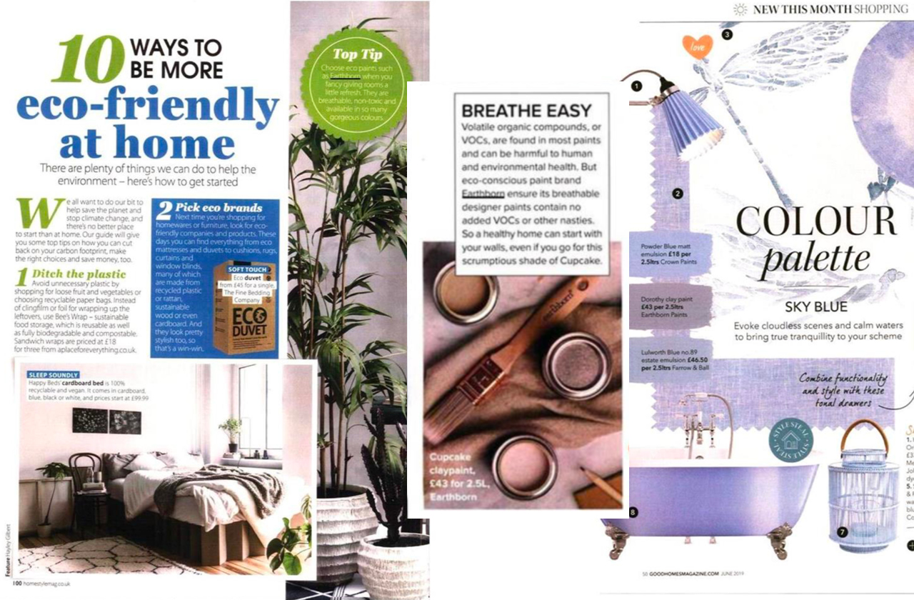 Earthborn in the Press 2019 - as featured in Home Style and Woman & Home