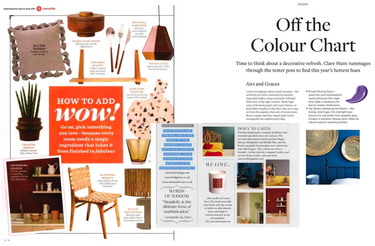 Earthborn in the Press 2019 - as featured in Good Homes, Ideal Home, Devon Home and The Cheshire Magazine