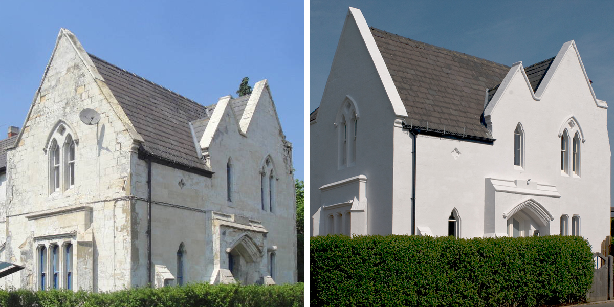Before and After restoration work at the West Lodge