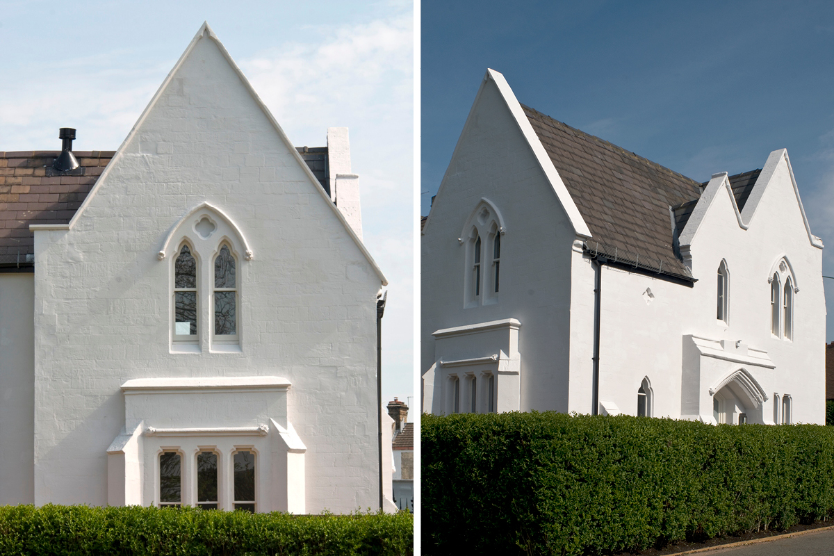 The West Lodge at Paddington Cemetery painted in Earthborn Ecopro Silicate Masonry Paint colour Portland