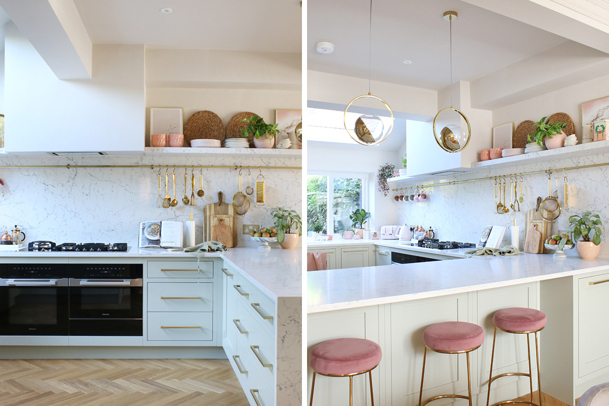 Blogger Swoonworthy's light and spacious kitchen walls are painted in Earthborn's soft beige Donkey Ride