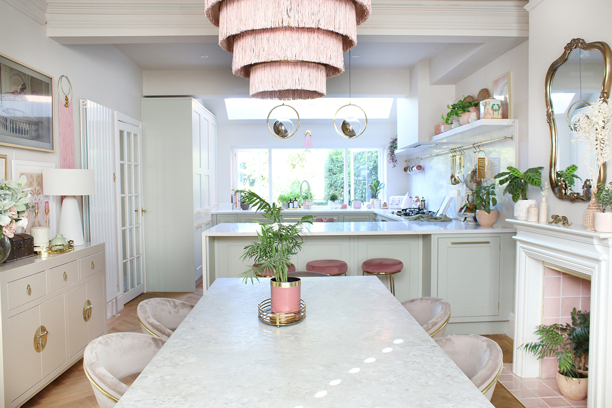 Blogger Swoonworthy's full kitchen diner reveal painted in Earthborn Donkey Ride and White Clay