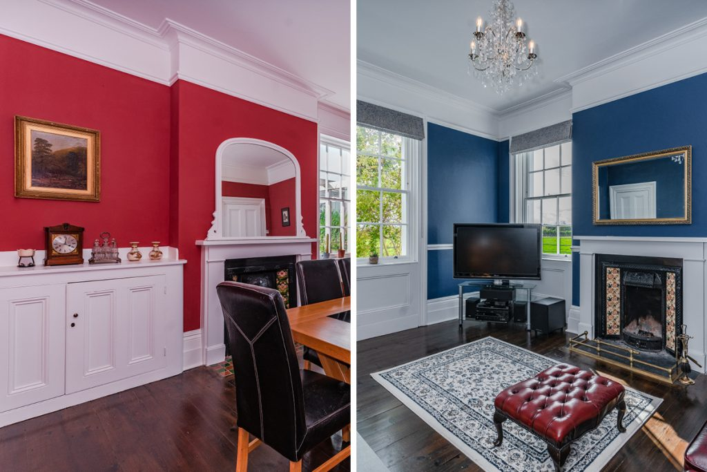 Living and Family Rooms painted in 'Riding Hood' and 'Toy Soldier'