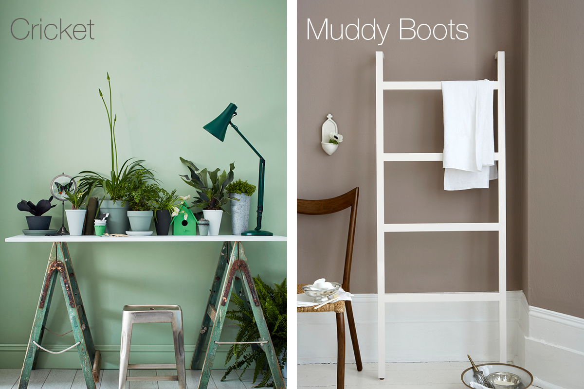 Earthborn Cricket and Muddy Boots are easy to live with paint shades to help bring a natural earthy feeling to any decor