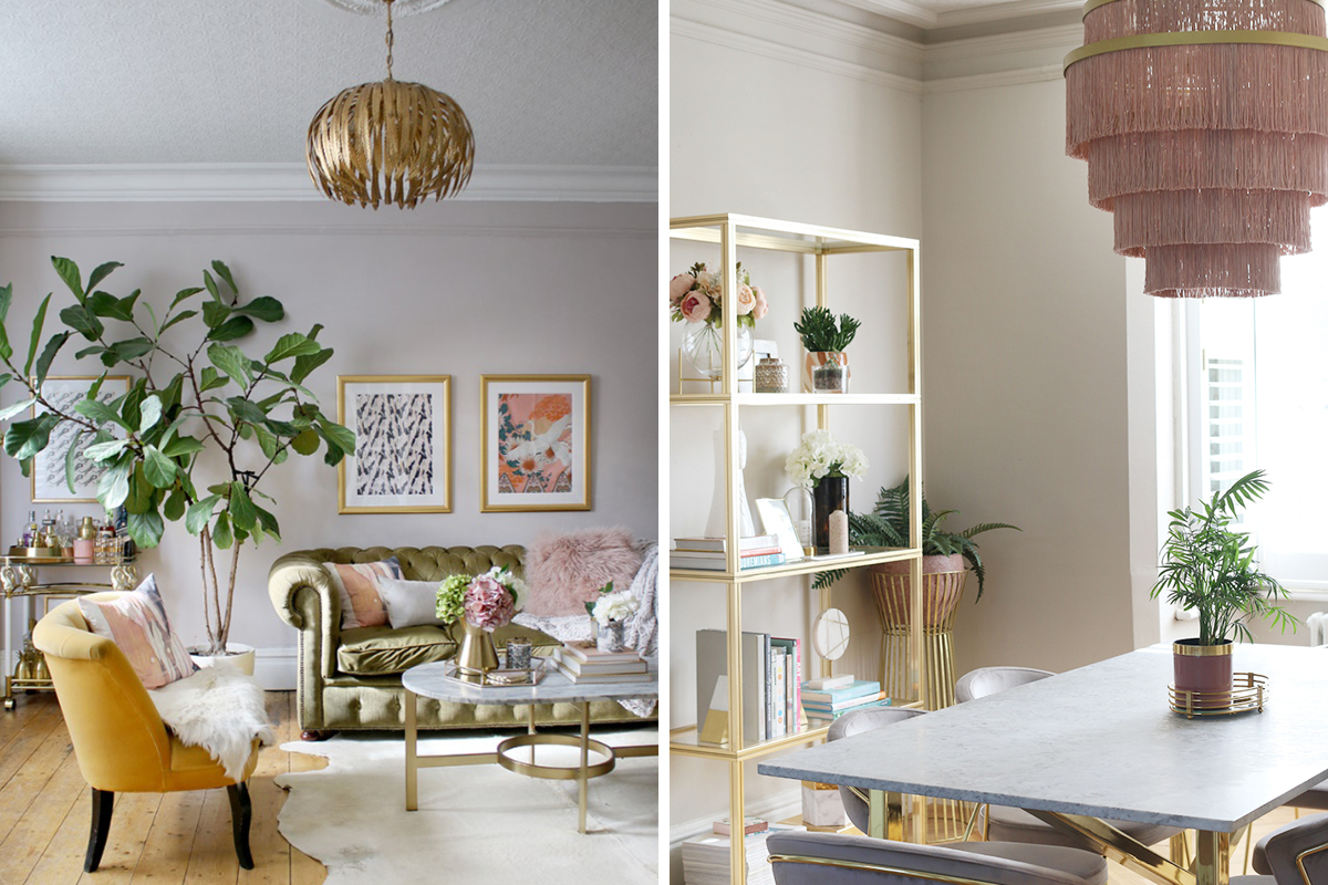 Kimberly from Swoonworthy's living room and dining room featruing Earthborn's neutral paint colours