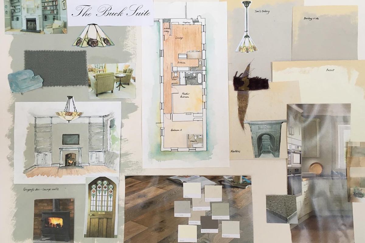 Moodboard by Helen Philips of Moreton House Devon features Earthborn colours