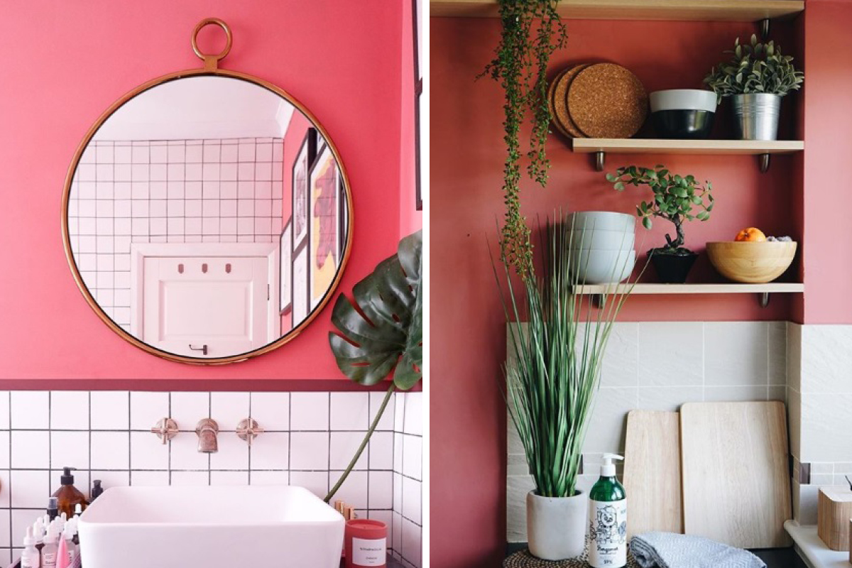 Emma Jane Palin opted for Delilah in her bathroom where it has a bright coral tone (left), whereas in At Home with Egg's kitchen it appears a more earthy shade of pink (right)