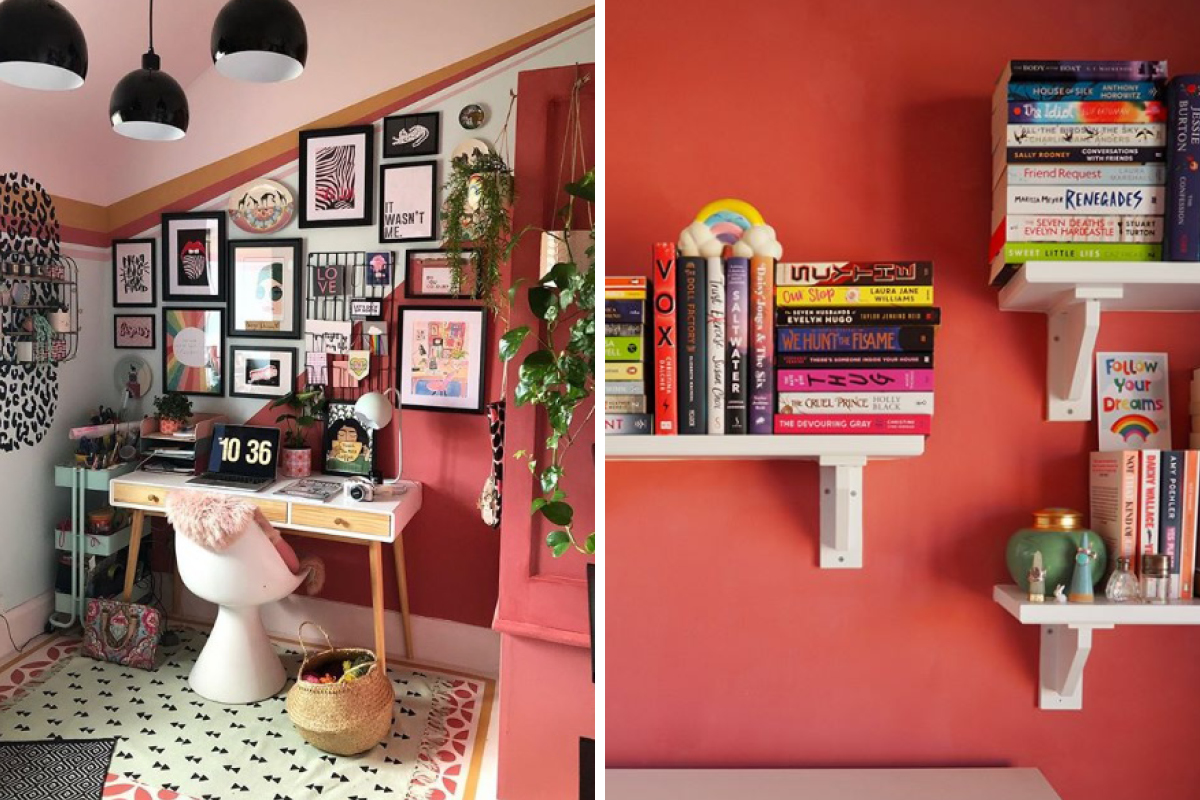 Delilah added a flash of colour to Soozi from The Patterned Palace's colourful study (left) and as a backdrop to Jaide Poppy's bookshelves (right)