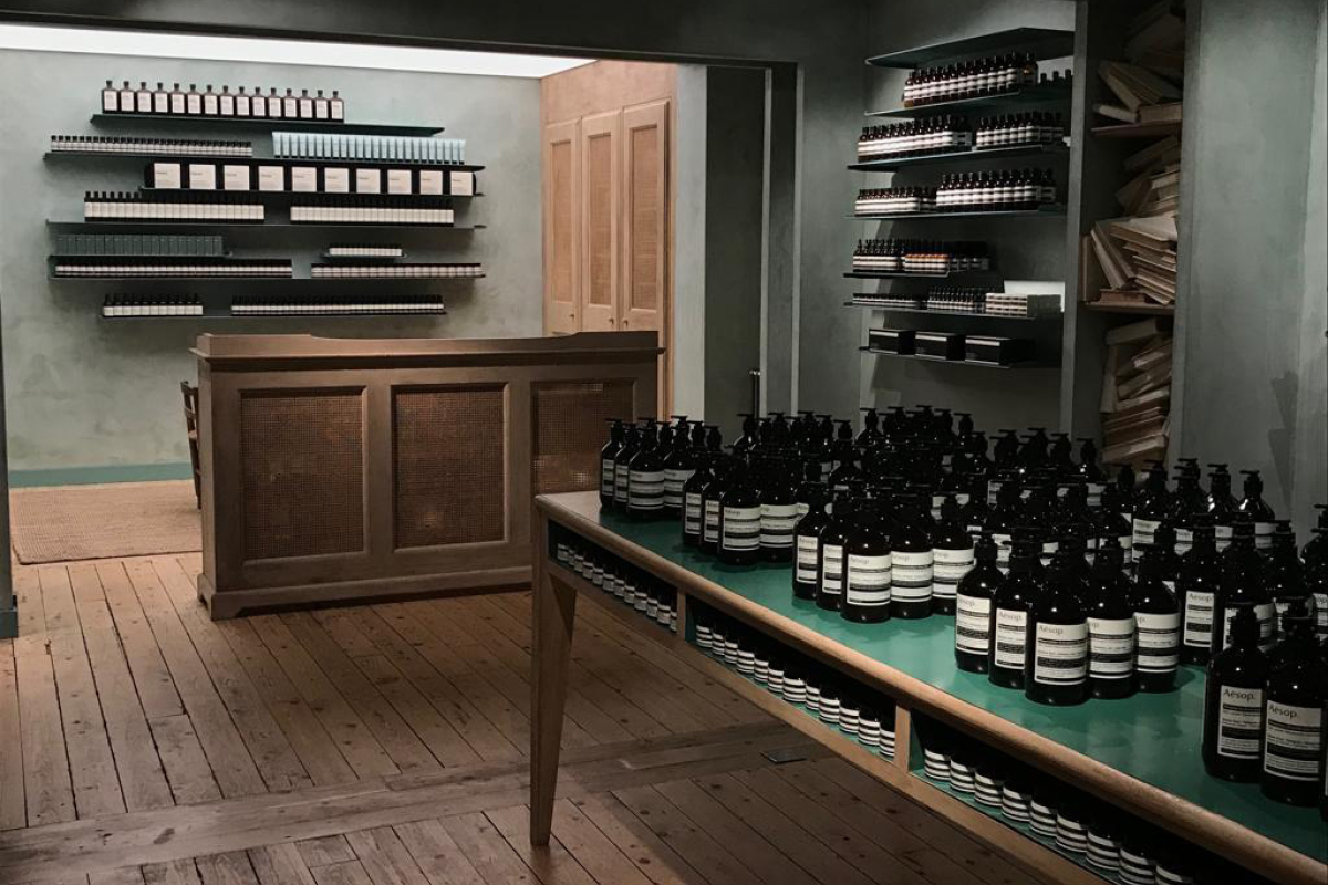 The Aesop store in Brighton was painted by Franklin's Interiors using Earthborn paints