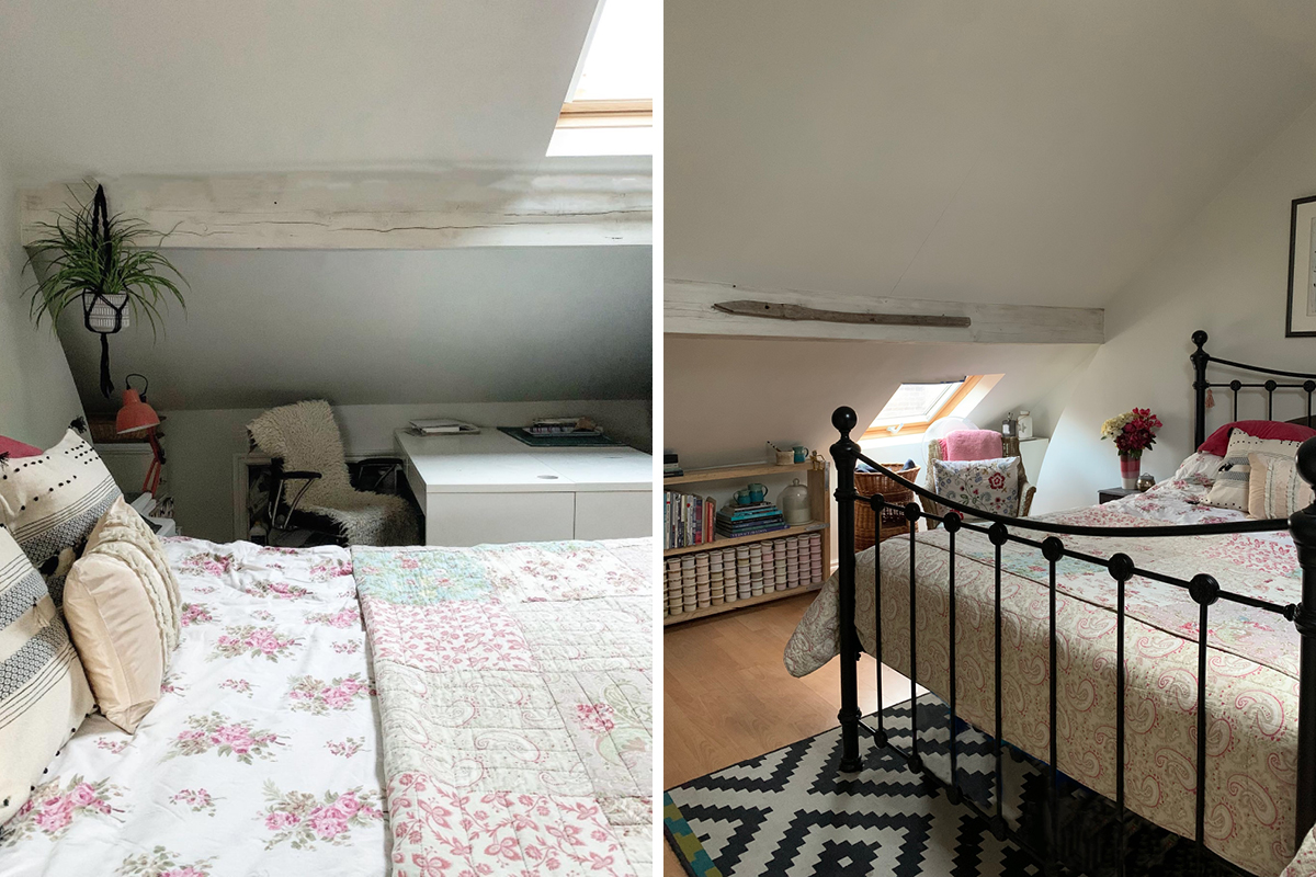 Wooden beams that have been white washed using Earthborn Claypaint