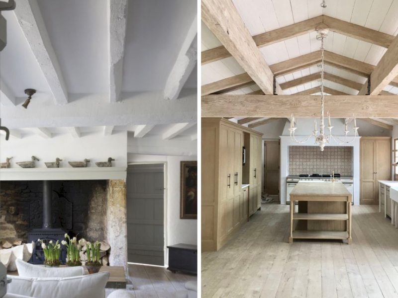 Wooden ceiling beams like these are ideal for painting with Earthborn paints
