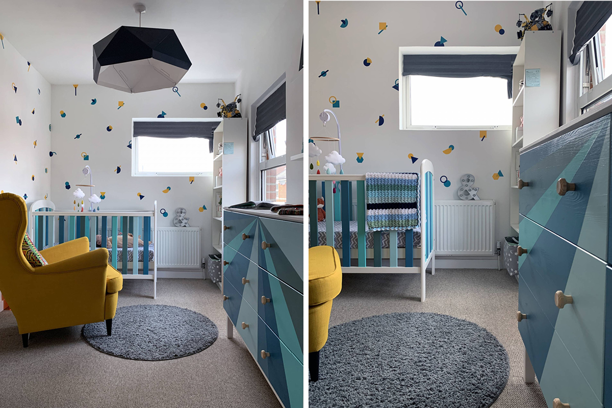 Our hardwearing baby-safe paint Eggshell No.17 added personality to this colourful nursery
