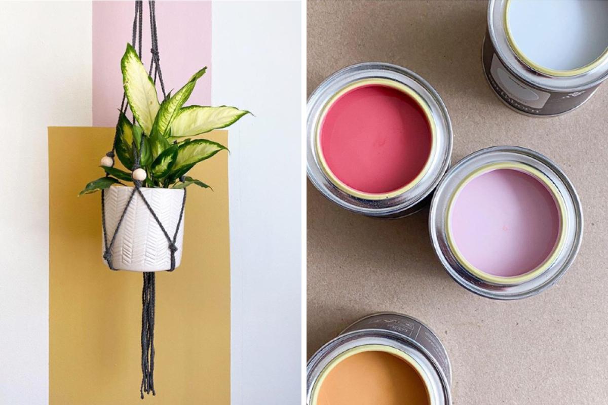 Nerissa Pratt used an array of Earthborn paint shades for her colour block wall design