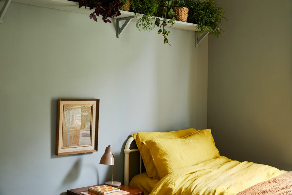A relaxed yet elegant shade, Grassy is a grey-green paint colour that's ideal with bold mustard tones