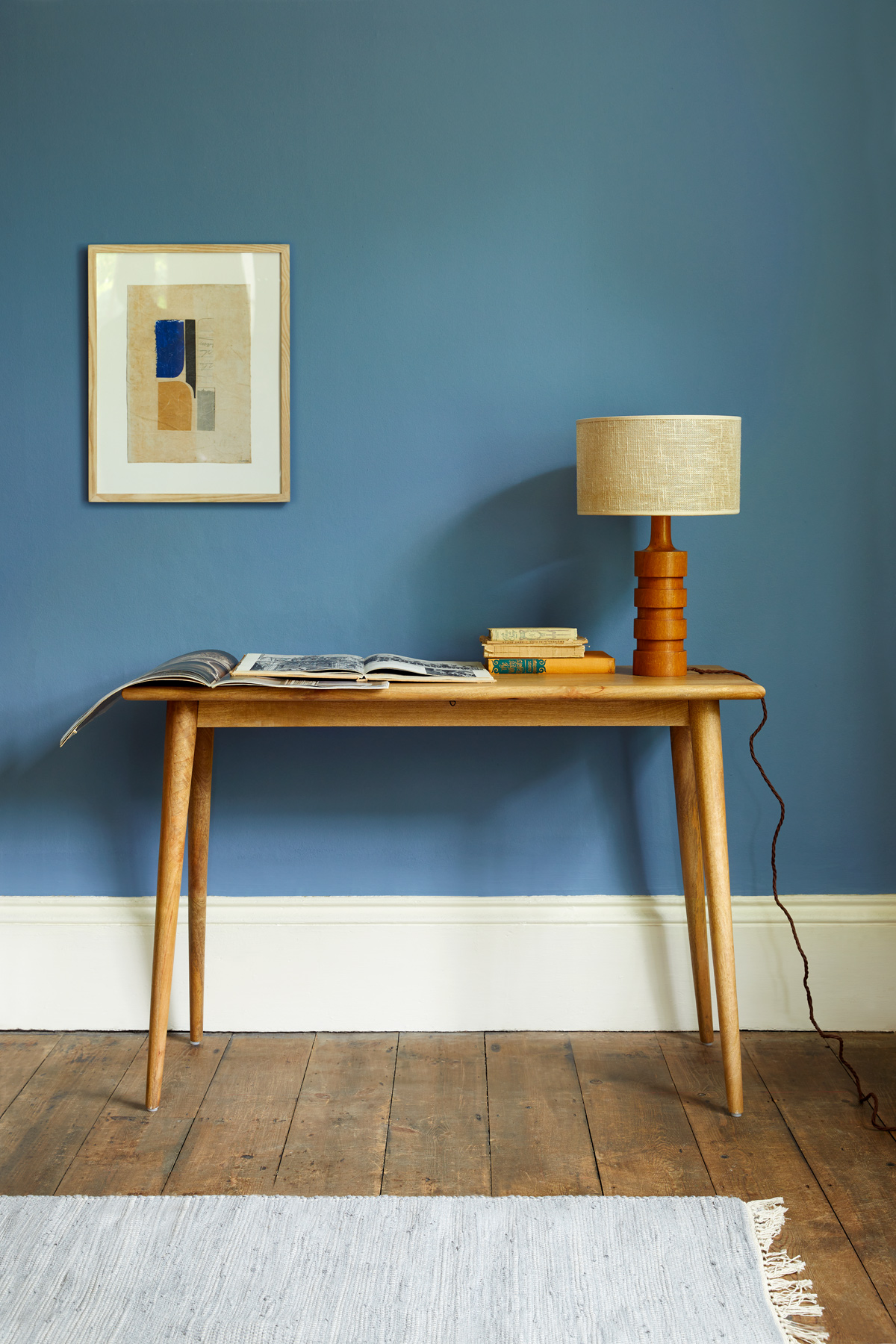 Skipper is a warm denim blue that will intensify in smaller spaces