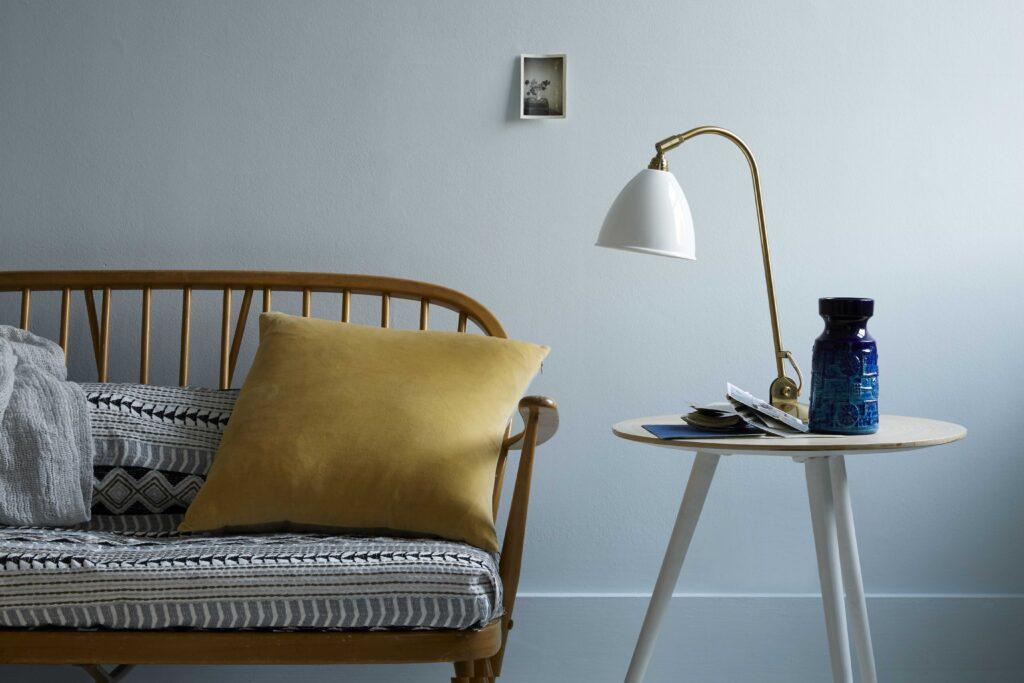 Smidgen is a pale bluey-grey that softens in the light