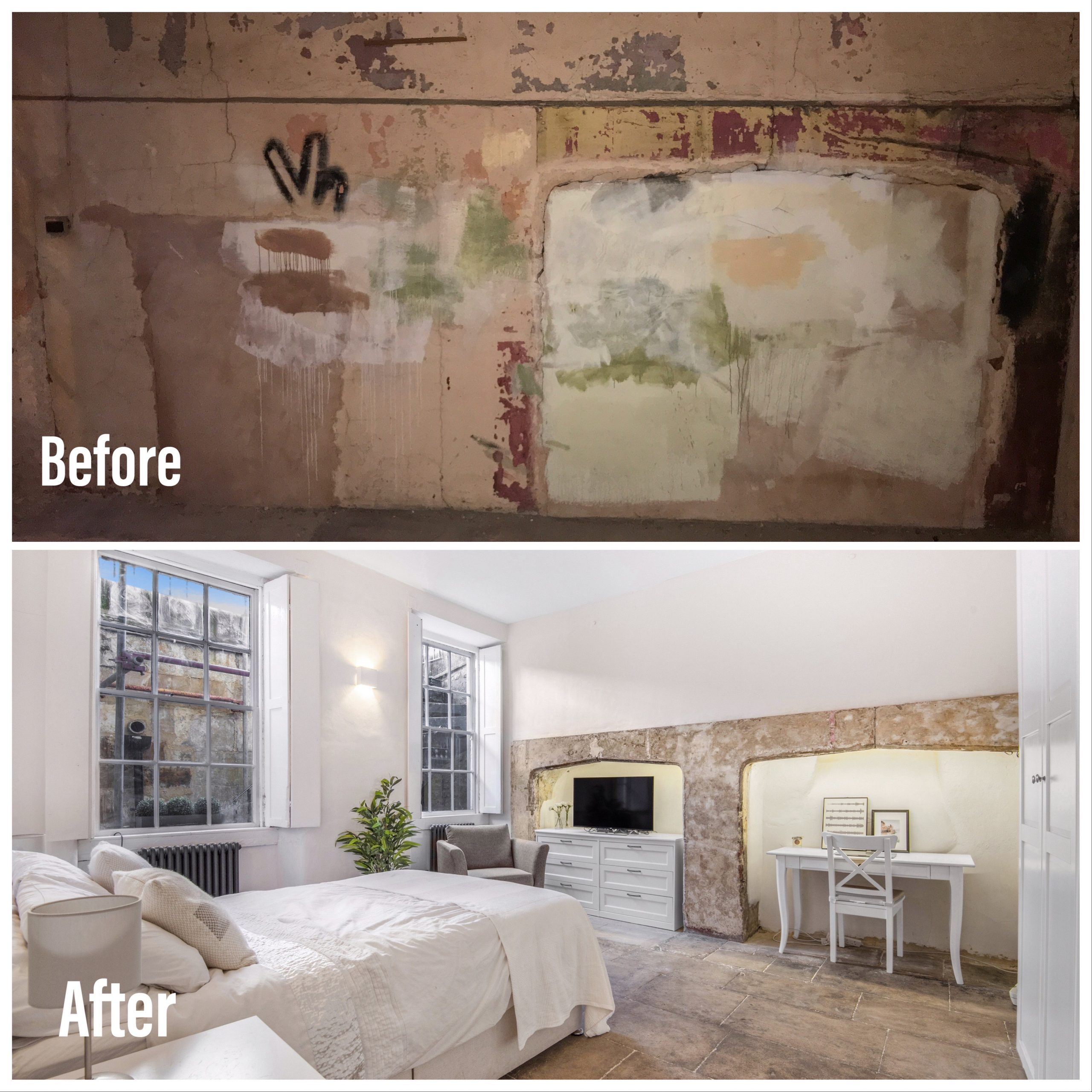 Old walls in this period home were plastered in lime to ensure they remained breathable