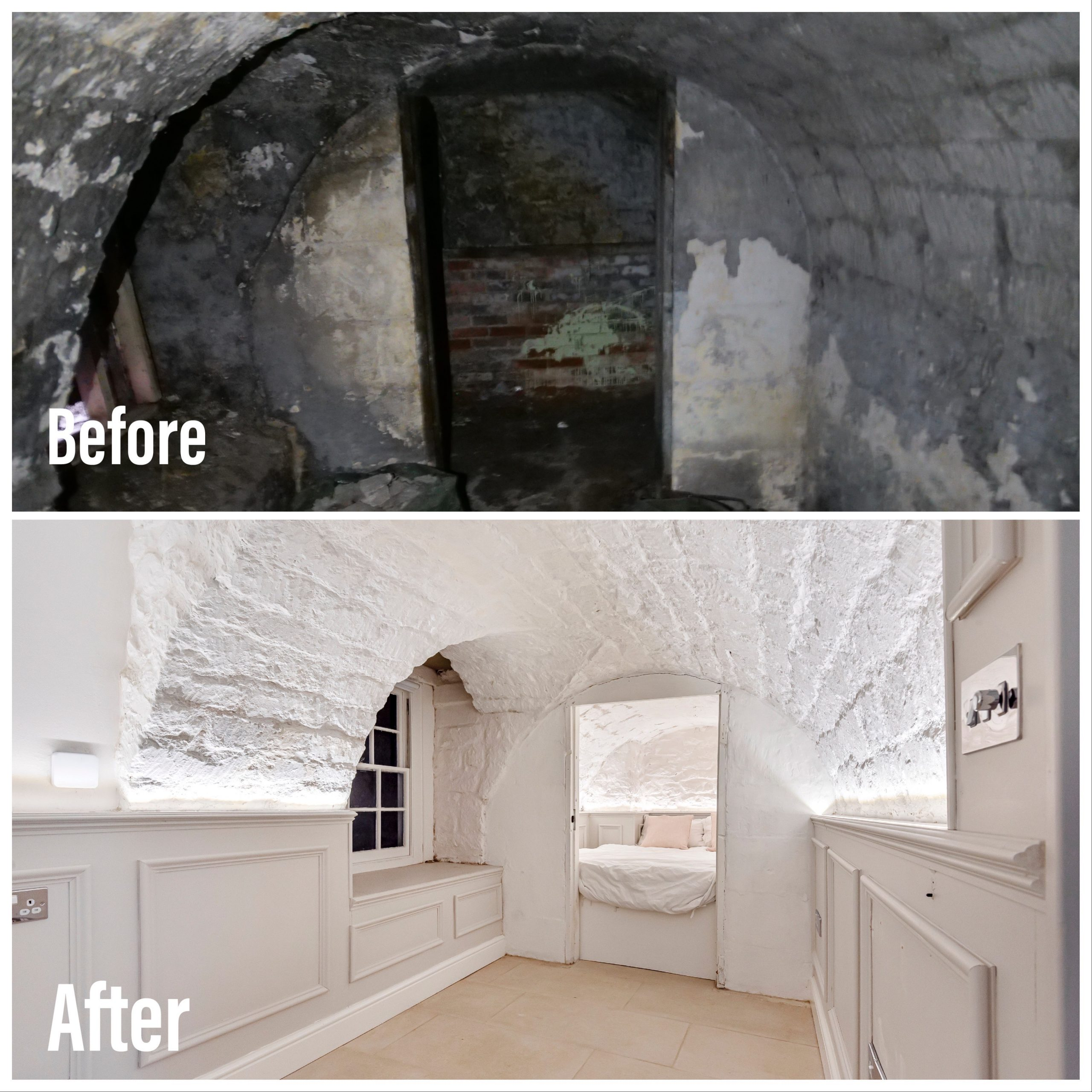 The damp vaults in the historic property were painted with breathable Claypaint