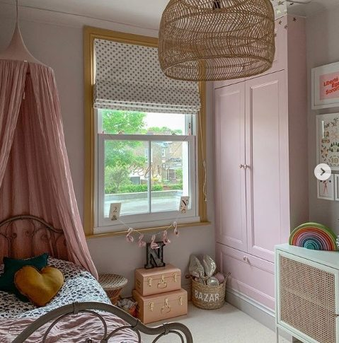 Rosie Posie gives these built in cupboards a colourful twit in this stylish kid's bedroom