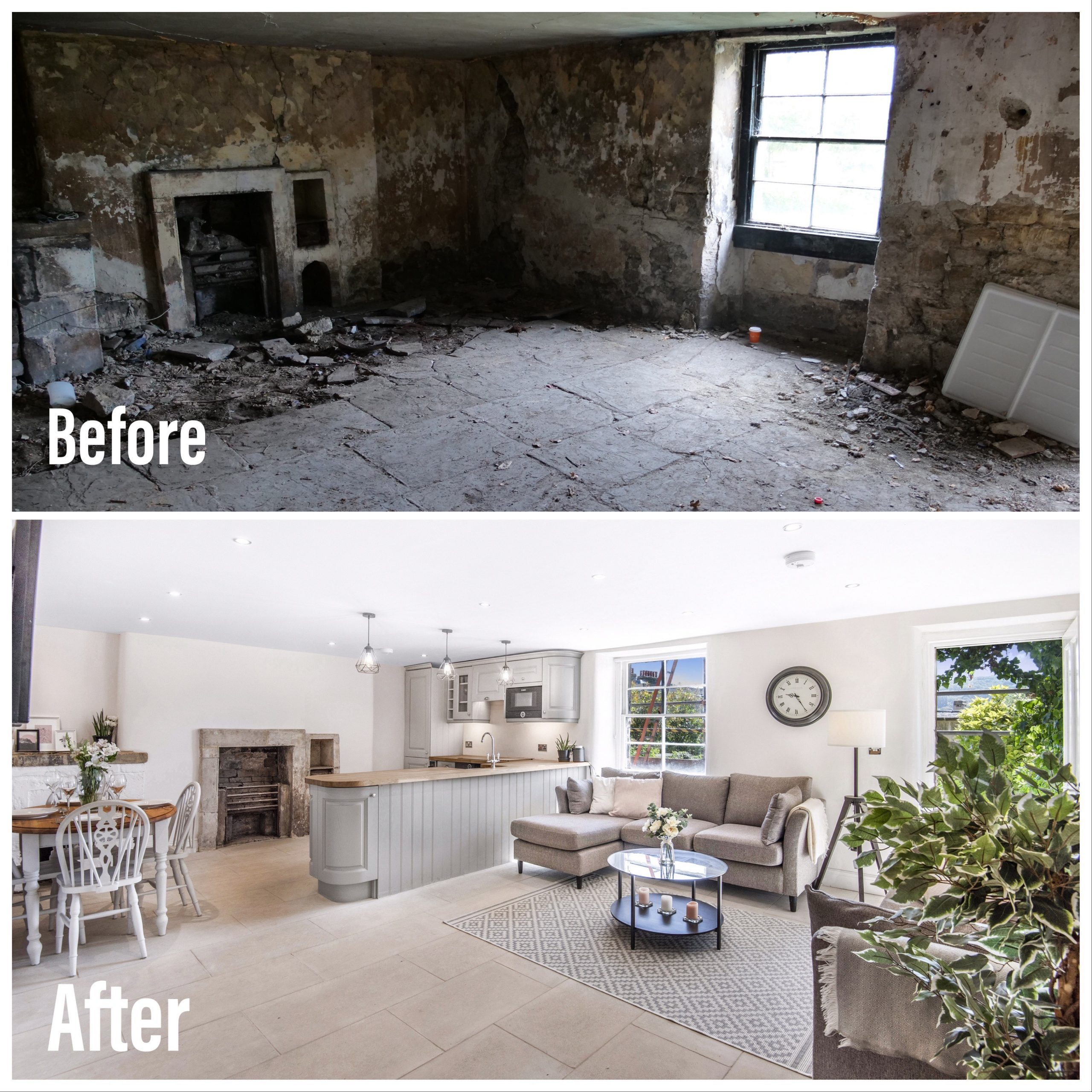 The kitchen and living area of this Grade I Listed bath property have been transformed