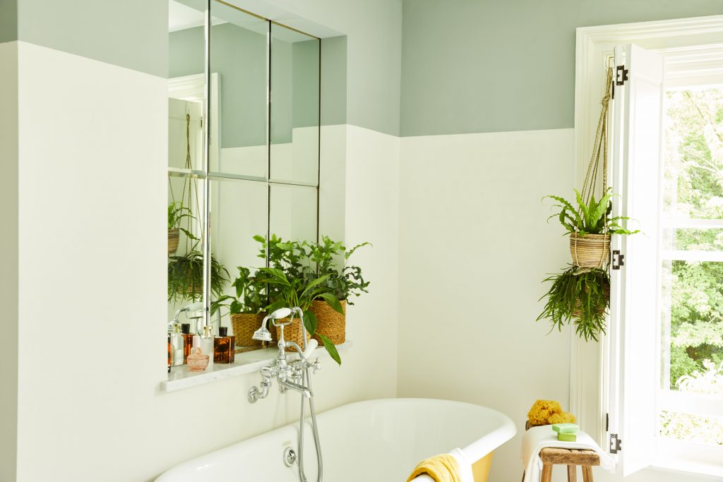 Up Up Away is an ideal off-white paint colour for bathrooms and looks great with greens