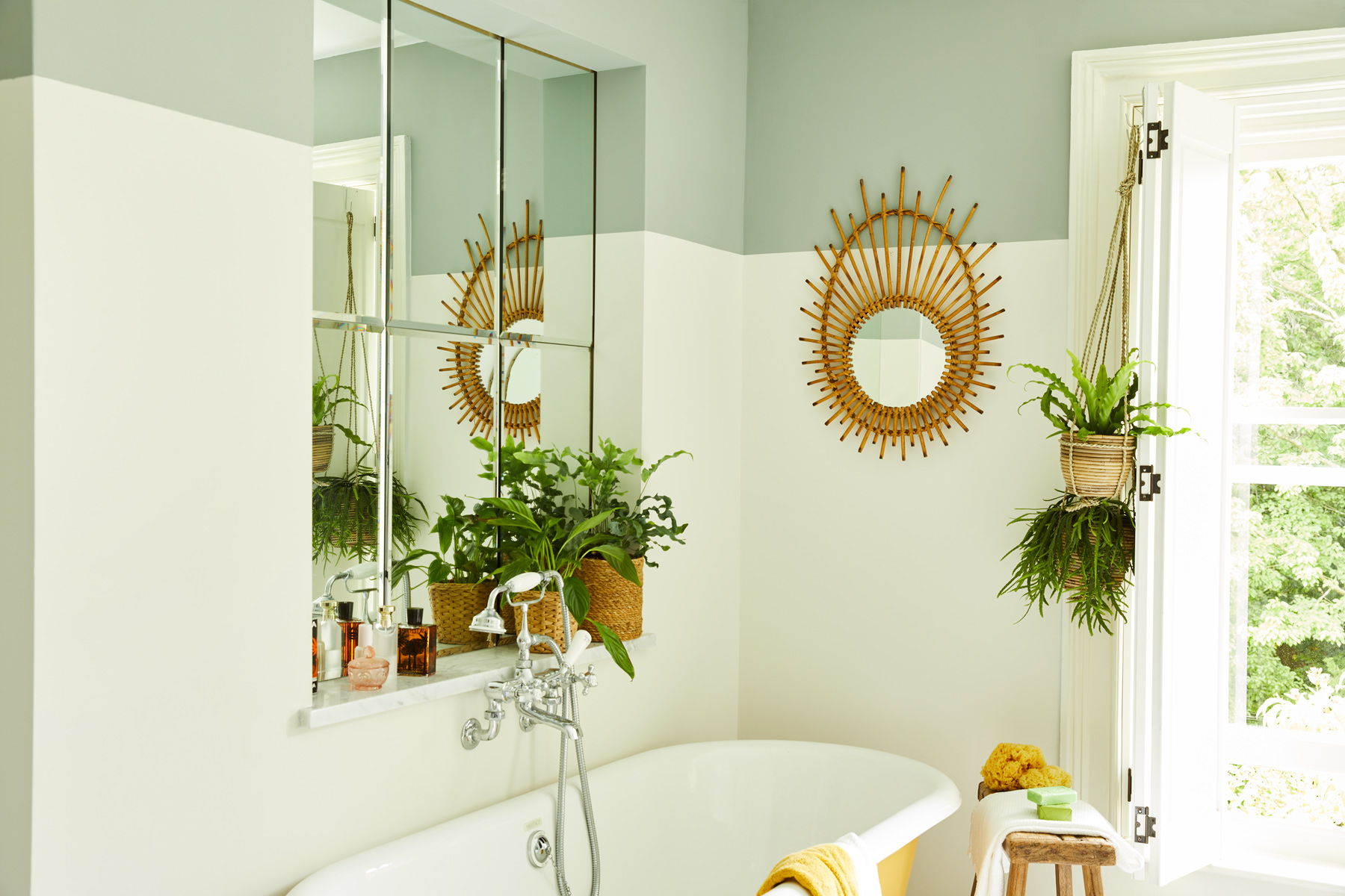 A colour that changes in the light, Grassy is a flattering grey-green that's perfect next to Up Up Away