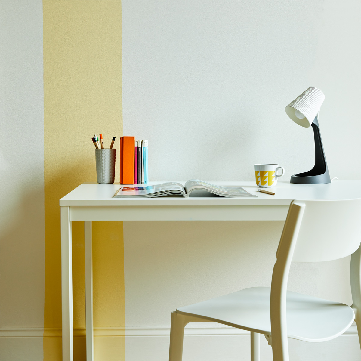 A stripe of yellow Jemima adds an unexpected pop to this space