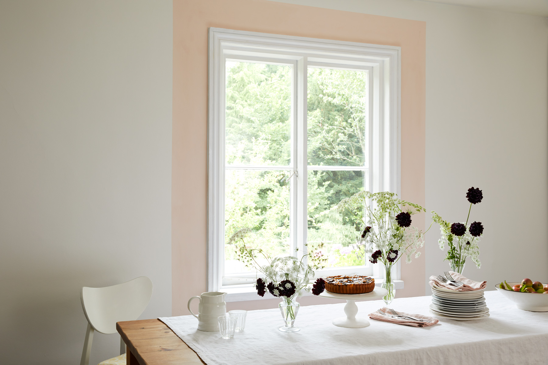 Framing a window is simple but effective. We've used Peach Baby here!